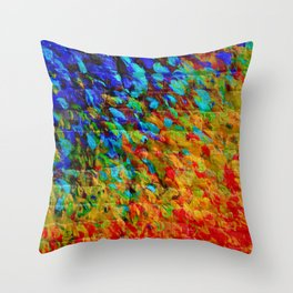 COLLISION COURSE - Bold Rainbow Splash Bricks Urban Jungle Ocean Waves Nature City Acrylic Painting Throw Pillow