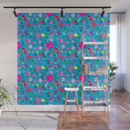 FLORAL BLUE Wall Mural