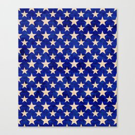 Gold stars on a dark blue background. Canvas Print