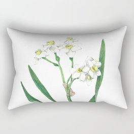 Cluster Daffodils Botanical Illustration Rectangular Pillow