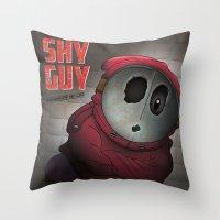 health Throw Pillows featuring Shy Guy - Mushroom Health by dann matthews