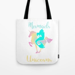 Mermaids Hangout With Unicorn Magical Creatures Magic Fantasy Rainbow Myth Horse Lovers Gift Tote Bag