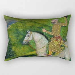 Mughal Horse with rider and falcon Rectangular Pillow
