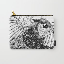 Black & White Zentangle Owl Pen Drawing Carry-All Pouch