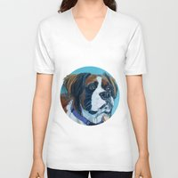 nori V-neck T-shirts featuring Nori the Therapy Boxer by Barking Dog Creations Studio