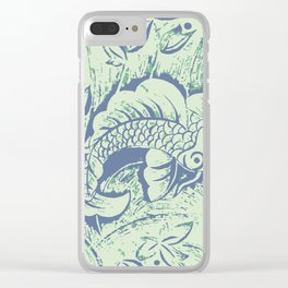 Carp in blue and soft green Clear iPhone Case
