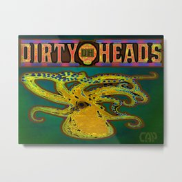 Dirty Heads Psychedelic Octopus #4 Colorful Trippy Vibrant Character Design Metal Print