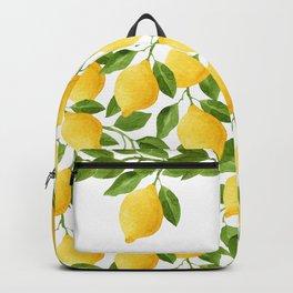 Yellow Lemon Watercolor Fruit Backpack