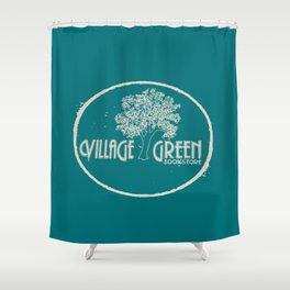 Village Green Bookstore Tan on Green Shower Curtain