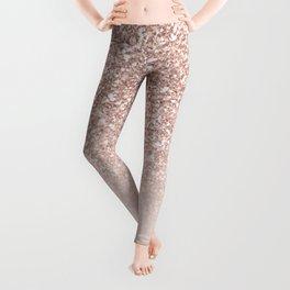 Modern sparkles rose gold ombre sequins glitter fancy girly blush pink Leggings