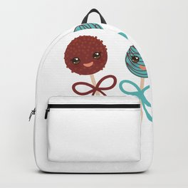 cute funny kawaii chocolate and blue Sweet Cake pops set with bow on white background Backpack