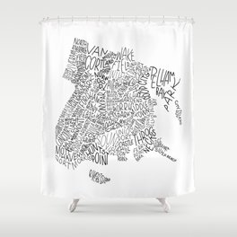 Bronx - Hand Lettered Map Shower Curtain