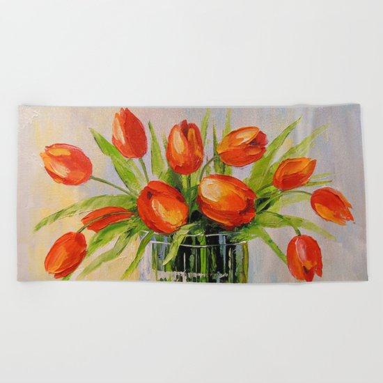 A bouquet of tulips Beach Towel