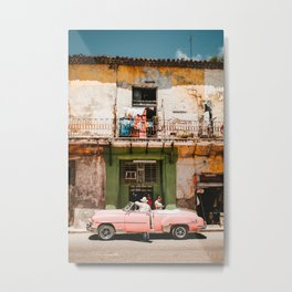 Cuban Photo Street Scene Antique Car and a Weathered Building Metal Print
