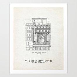 Chicago Theatre Blueprint - West Elevation Art Print