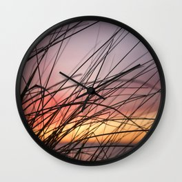 Grasses in the rainbow light of sunset Wall Clock