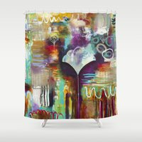 "flora bowley Shower Curtains featuring ""Spirit Works"" Original Painting by Flora Bowley by Flora Bowley"
