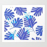 Blue Palm Art Print