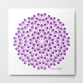 Purple Peacock Mandala on White Metal Print