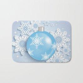 Christmas ball with snowflakes Bath Mat