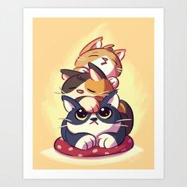 Cat Stack Doodle Art Print