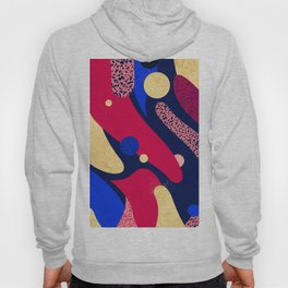 Psychedelic terrazzo galaxy blue night gold red Hoody