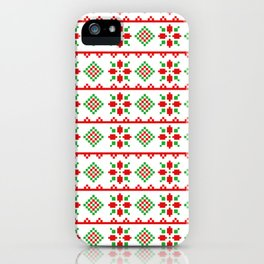 Red And Green Snowflake Christmas Pattern iPhone Case