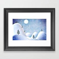 Winter Landscape Under Full Moon Framed Art Print