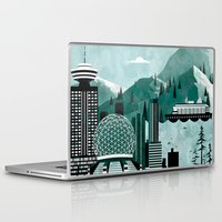 travel poster Laptop & iPad Skins featuring Vancouver Travel Poster Illustration by ClaireIllustrations