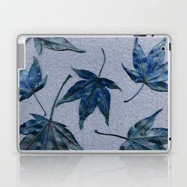 Japanese maple leaves - blue on faded lavender Laptop & iPad Skin