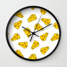 Cheese Seamless Pattern with White Background Wall Clock