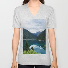 长海 // Long Lake, Jiuzhaigou Unisex V-Neck