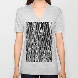 Zigzag Black and White Unisex V-Neck