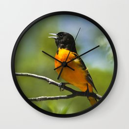 Orange Oriole Wall Clock