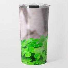 Green Clover and Grey Tree Travel Mug