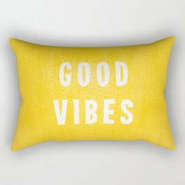 Sunny Yellow and White Distressed Effect Good Vibes Rectangular Pillow