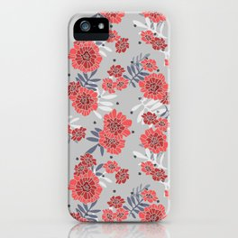 Crimson and Silver Floral iPhone Case