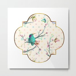 Hummingbird and Butterflies Gold Confetti Metal Print