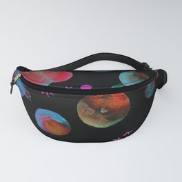 Starry sky with planets, stars and comets watercolor. Fanny Pack