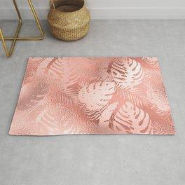 Pastel Pink Iridescent Fantasy Leaf Pattern Rug