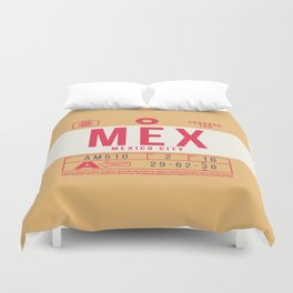 Retro Airline Luggage Tag 2.0 - MEX Mexico City International Airport Mexico Duvet Cover