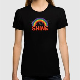 SHINE in red T-shirt