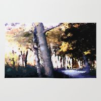 hiking Area & Throw Rugs featuring Hiking on the Coast. by capricorn