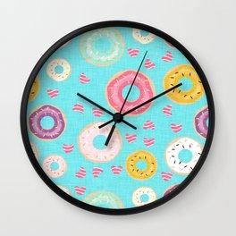hearts and donuts blue Wall Clock