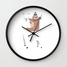 Sloth Riding Llama Funny Christmas Scarf Santa Hat Wall Clock