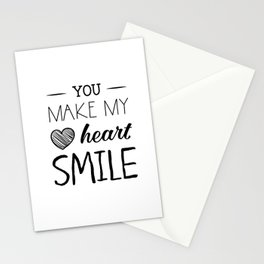 You make my heart smile Stationery Cards