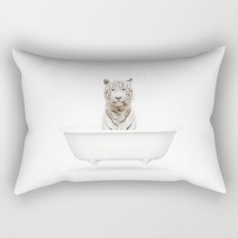 White Tiger in a Vintage Bathtub (c) Rectangular Pillow