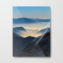 Misty Blue Mountains With Rays Of Sunlight Foggy Atmosphere Metal Print