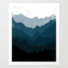 Mists No. 6 - Ombre Blue Ridge Mountains Art Print  Art Print