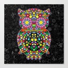 Owl Zentangle Floral   Canvas Print